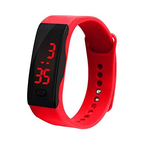 OHQ Reloj Digital con Pantalla Digital LED De Silicona Reloj Deportivo ElectróNico Pulsera para NiñOs Gel De SíLice (Rojo)
