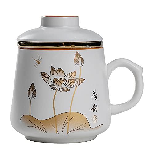 Juego de taza de té de cerámica taza de agua con filtro de tapa Set de tres piezas grande oficina hogar agua taza