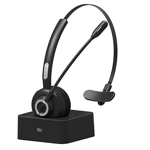 Audífonos Bluetooth de oficina con micrófono, auriculares inalámbricos con cancelación de ruido, auriculares con manos libres con base de carga para centro de llamadas, hogar, smartphones, PC.