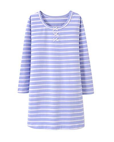 DianShaoA Mädchen Süß Slim Fit Pyjama Nachtwäsche Langarm Einfach Streifen Schlafanzug Hellblau 160