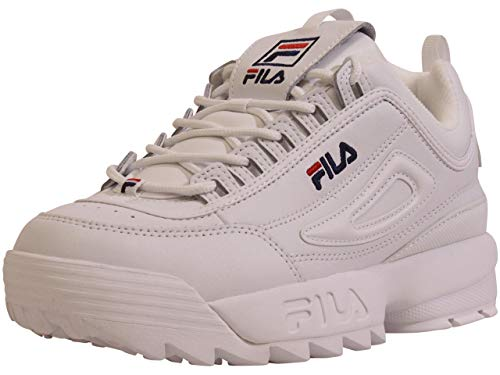 Fila Men's Disruptor-II-Premium Sneakers Premium Trainers White/Navy/Red Sz: 8
