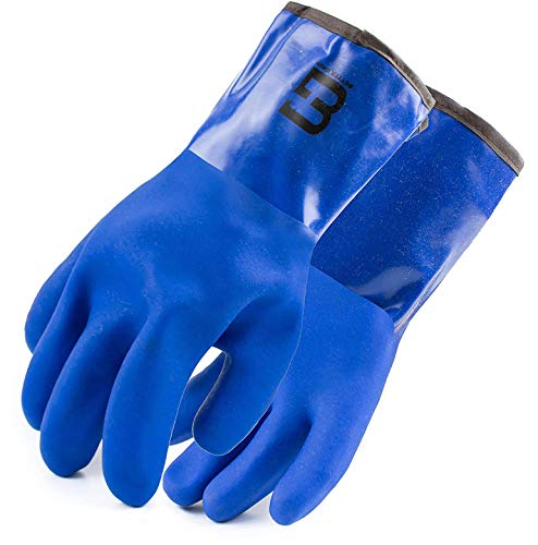 Better Grip Heavy Duty WINTER Premium Double Coated PVC Cold Resistant Snow Blower Insulated Gloves, Large (Blue, 1 Pair)