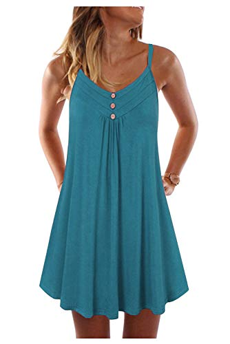 Vestido Playa Mujer Corto Verano Vestido Plisado Niña Colorido Vestido Camiseta Tirantes Vintage Swing Vestido Linea A Vestido con Botones Casual Mini Dress Tunica Caftan Baño Talla Grande Beachwear