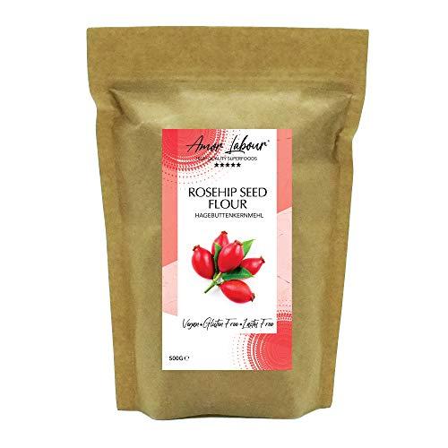 Amor Labour ® Hagebuttenpulver 500g | 100% Natural Rosehip Seed Flour | Hagebuttenkernmehl | Superfood Vitamin C | Vegan Glutenfrei