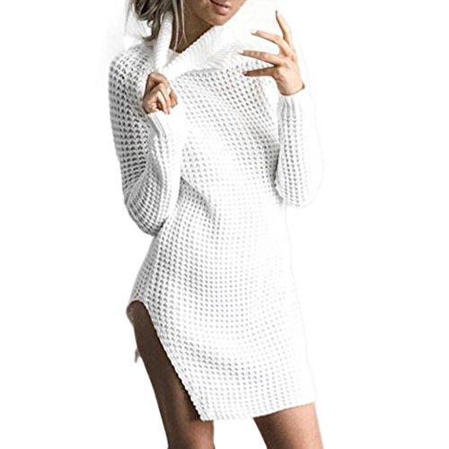 Strickkleider Damen, DoraMe Frauen Hohes Kragen Strickkleid Lange Ärmel Wollkleid Bodycon Party Cocktail Minikleid Offenes Kleid (M, Weiß)