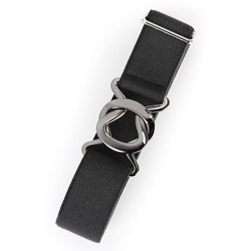Womens Invisible Belt Comfortable Elastic Adjustable No Show Web Belt Metal Buckle Belt for Men by JASGOOD,Black,US Size 0-14