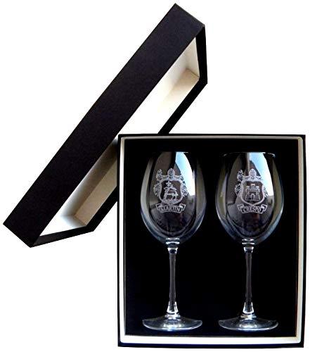 Arte-Deco Copas de Vino grabadas y Personalizadas con el Escudo HERÁLDICO de su Apellido. Un Regalo Elegante, Original y a la Vez Muy Atractivo y Duradero en el Tiempo.