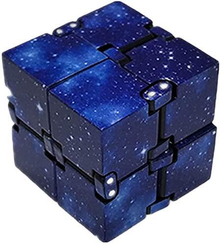 Rmeet Infinity Cube,Plastico Descompresión de Cubo Mini PVC Finger Toys Handy Infinito Rompecabezas para Niños Adultos Tiempo de Matar Agregar TDAH Trastorno de Ansiedad Estrella Azul