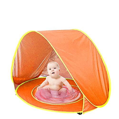 ORANGEHOME Pop up Baby Beach Tent,Baby Tent with Folding Pool,UV Protection Sun Shelter Perfect for Indoor and Outdoor Beach Picnic Use(120x80x70 cm)