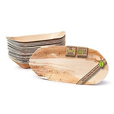 """Naturally Chic Palm Leaf Compostable Trays - 12"""" Biodegradable Disposable Eco Friendly Serving Trays for Weddings, Parties, BBQs, Events (25 Pack)"""