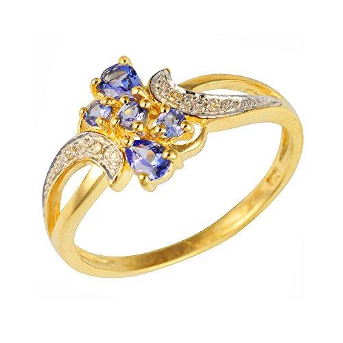 Ivy Gems 9ct Yellow Gold Tanzanite and Diamond Fancy Twist Ring - Size N