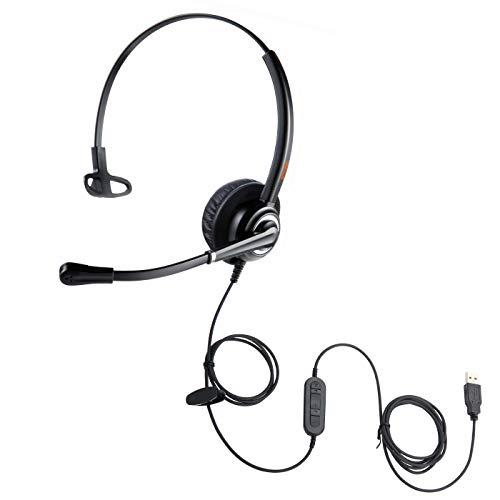 emaiker USB-Headset mit Geräuschunterdrückung, Diktiermikrofon, Büro-Center Computer-Kopfhörer mit Mikrofon für Laptop, Drachen-Spracherkennung, Teams, Zoom Konferenz, Call Meeting, MacBook