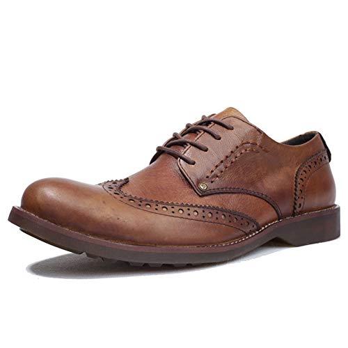 Rui Landed Retro Oxford Hombres Brogue Talla de Vestir Atan for Arriba Zapatos de Cuero auténtico Punta Redonda de 3 cm de Plataforma Baja Superior Antideslizante Color sólido Discoteca