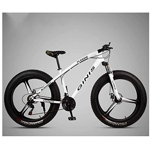 Vélo de montagne de 26 pouces, cadre en acier à haute teneur en carbone Fat Tire Mountain Trail Bike, vélo de montagne semi-rigide pour hommes avec frein à disque double, blanc, 30 vitesses à 3 rayo