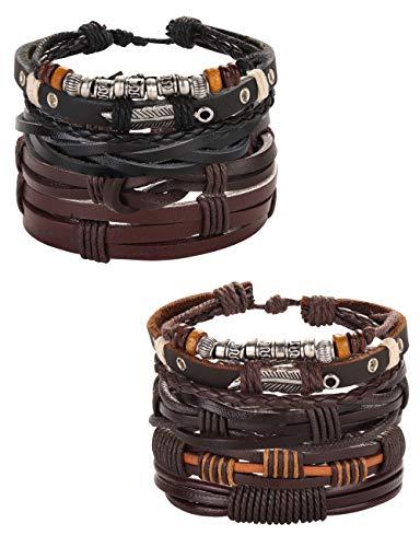 Besteel 8PCS Braided Leather Bracelets for Men Women Punk Goth Vintage...