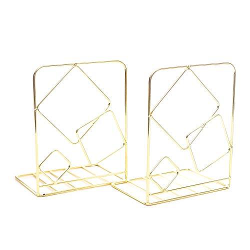 Koehope boekensteunen, metaal, 13 x 10 x 20 cm, decoratief boekenrek met steunen, voor planken, Desk Organizer, uniek vierkant design, 1 paar 13x10x20cm goud
