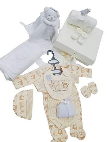 Keepsake - Cajas de regalo para bebé, unisex (marfil), incluye edredón de peluche, toalla con capucha, botines, manta, traje de sueño, traje de cuerpo, babero, sombrero, manoplas y 2 paños de lavado