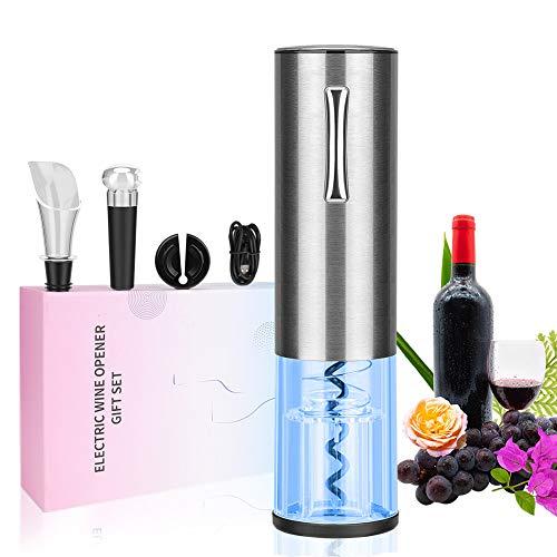 Sacacorchos Electrico, Linkax Profesional Automatico Abrelatas de Vino, Abridor Botellas de Vino Inalámbrico con Cortador de Papel, Vertedor, Tapón de Vino Silicona de Vacío