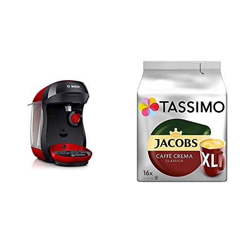 Bosch TAS1003 Tassimo Happy Kapselmaschine, über 70 Getränke, vollautomatisch, geeignet für alle Tassen, kompakte Größe + Tassimo Kapseln Jacobs Caffè Crema + Latte Macchiato + Milka + Probierbox