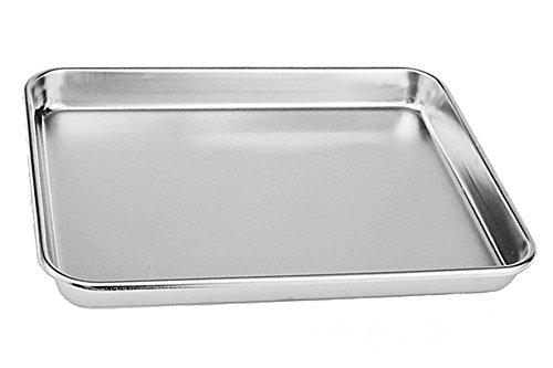 Tspkey, Edelstahl-Kuchen-Backform, kompakter Toaster, Ofenform, professionell, tiefer Rand, hochglanzpoliert, spülmaschinenfest 26.5X20.5X2.5cm silber