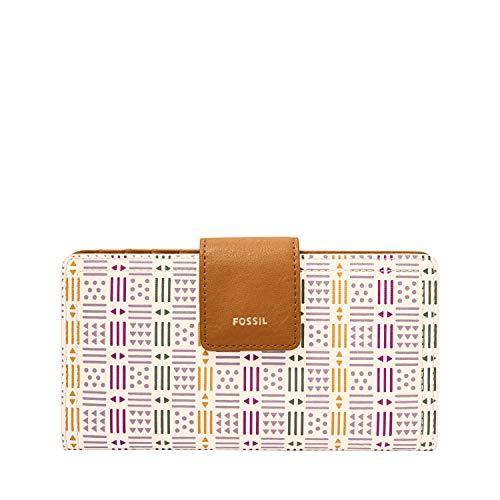 Fossil Women's Logan Faux Leather RFID Tab Clutch Wallet, White Multi