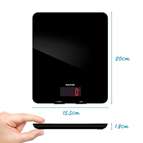 Salter Digital Platform Seen on TV, Stylish Glass Design, Electronic Cooking Scale for Home + Kitchen, Weigh Food 5kg + Liquids in ml and fl. Oz, Black