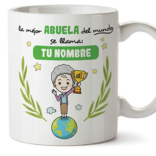 MUGFFINS Taza Abuela (Personalizable con Nombre) - La Mejor Abuela del Mundo - Taza Desayuno Personalizada/Idea Regalo Original/Día de la Madre para Abuelitas. Cerámica 350 mL