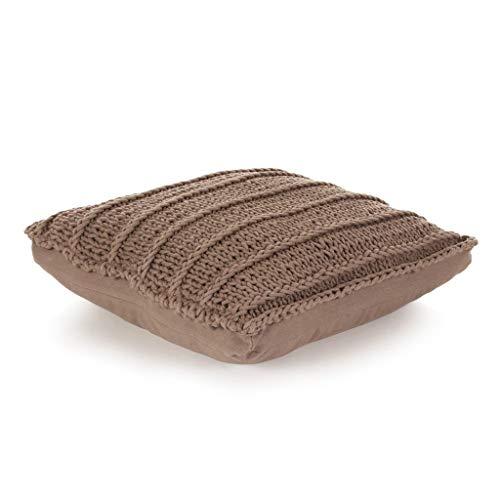 Zora Walter - Cojín para Asiento de Suelo (Cuadrado) Pillows - Juego de Cojines de Punto (algodón, 60 x 60 cm), Color marrón