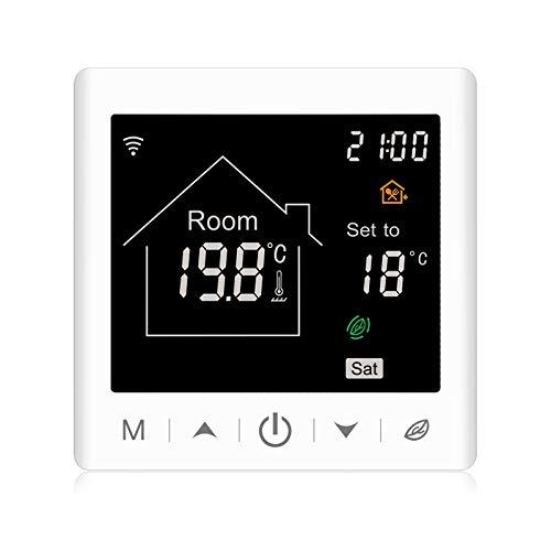 Beok Termostato de calefacción WIFI inteligente para calefacción de suelo eléctrica con función programable semanal Termostato de pantalla táctil LCD 16A