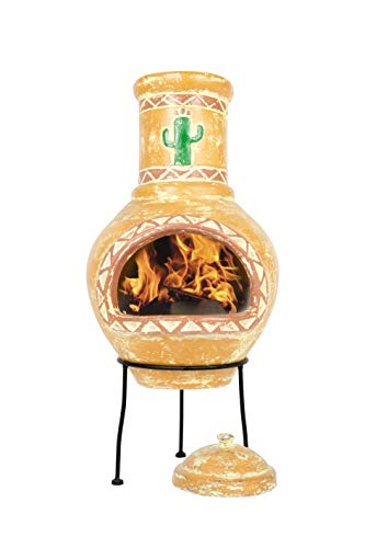 Photo of La Hacienda Cardon Clay Chimenea, Medium – Burnt Orange