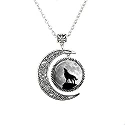 Charm Moon Glass Tile Necklace Wolf Necklace Moon Necklace Glass Tile Jewelry Animal Jewelry Moon Jewelry Wolf Jewe (5)