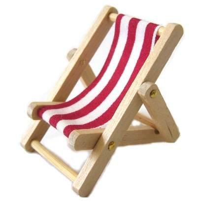 CREATIV DISCOUNT ® Miniatur Liegestuhl rot/weiß, 5x3cm