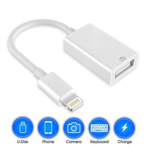 Adaptador de cámara USB, adaptador de cable Otg USB Adaptador macho a USB hembra compatible con el teléfono / pad Cable adaptador Otg No se requiere aplicación, soporte iOS 12 antes y después (white)