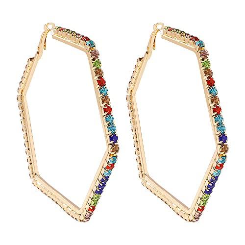 NIUBKLAS Pendientes de aro de corazón Abierto de Cristal con Estilo Americano, joyería de Oreja de Diamantes de imitación geométrica Grande para Mujer, hexágono de Regalo de San Valentín