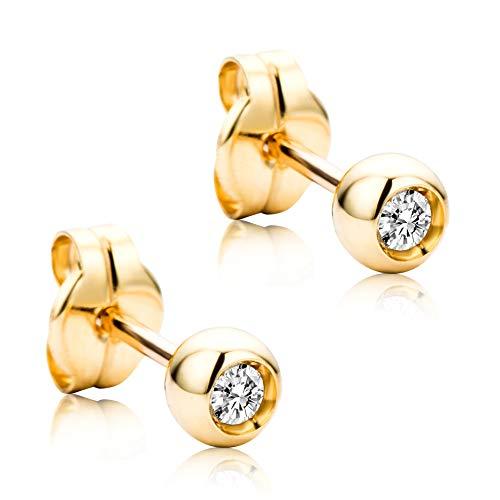 Orovi Vir Jewels - Pendientes para mujer con diamantes de oro amarillo de 18 quilates (750) y diamantes de 0,1 quilates