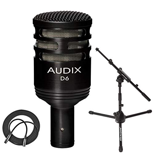 Audix D6 Dynamic Microphone, Cardioid + Ultimate Support Low Profile Microphone Stand with Telescoping Boom + XLR Mic Cable