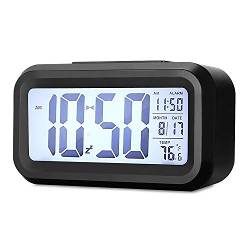 Sveglia Digitale, Sveglia Elettronica con Luce Notturna, Display a LCD da 5,3 Pollici con Funzione Ora Data Temperatura, Funzione Snooze, Nero (Batteria Non Lnclusa)