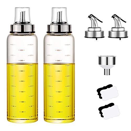 Savna Öl Und Essig Spender, Olivenöl Glas Flasche Für Kochen Ölflasche Oil Bottle Dispenser mit den gekennzeichneten Maßen (500 ml - Type B, 2 Pcs)
