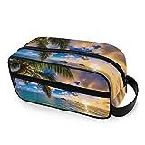 CPYang Reise-Kulturtasche Hawaii Strand Palme Tragbare Kosmetiktasche Dopp Kit Rasiertasche für...