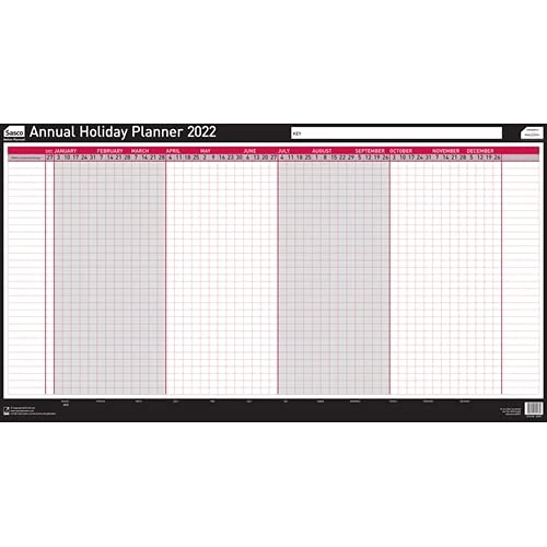 Sasco 2022 Annual Holiday Year Wall Planner with wet wipe Pen & sticker pack, Black & Red, Poster Style, 750W x 410Hmm, 2410168