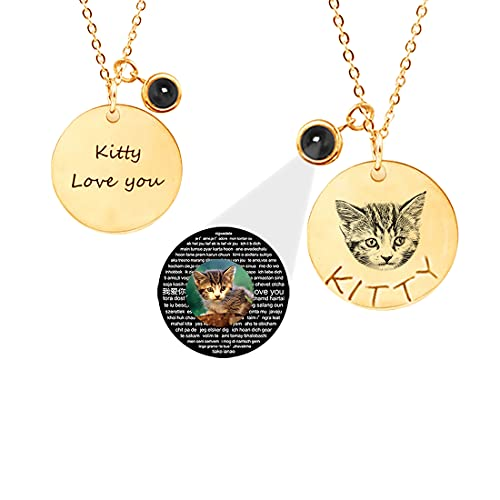 Collar personalizado para mascotas Collar con proyección fotográfica personalizada 100 idiomas Te amo Collar para perro gato Regalos de cumpleaños Collar de plata de ley 925 para Navidad