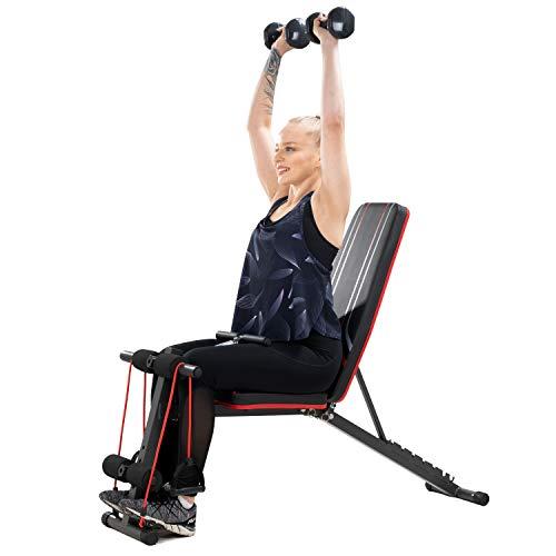 Banco de musculacion, Banco de Pesas Ajustable, Banco Adominales Profesional, 7 posiciones ajustables y 2 correas de entrenamiento, gimnasio en casa (S2)