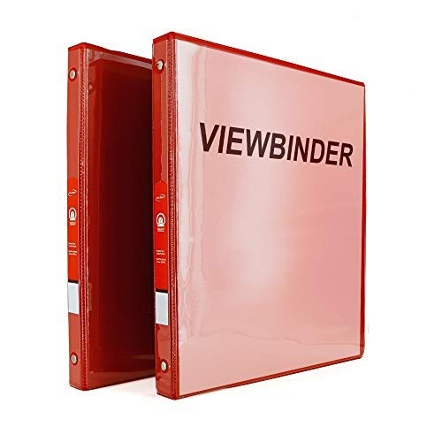 """3 Ring View Binder 1/2"""" Inch with 2 Pockets Ideal for Office, School, Home for organizing Projects, Presentations and More Available in Red (Pack of 2) by - Emraw"""
