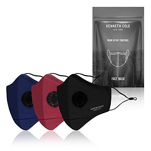 Kenneth Cole 3 Pack Valve Mask with 9 PM 2.5 Filters Unisex with Outdoor Heat, Dust & Pollution Protection - with Valve for Super Breathability, Reusable