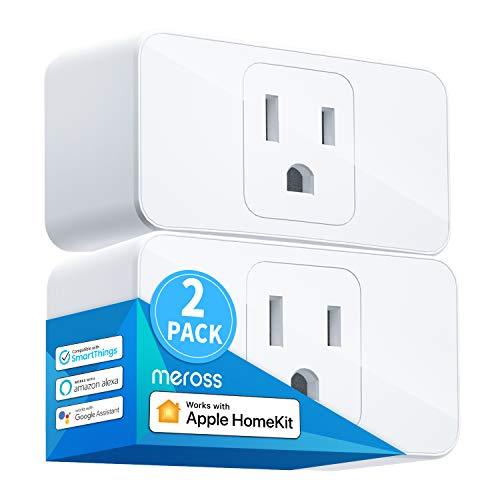 Meross Smart Plug Mini, 15A & Reliable Wi-Fi, Support Apple HomeKit, Siri, Alexa, Echo, Google Assistant, Nest Hub and SmartThings, App Control, Timer, No Hub Needed, 2 Pack