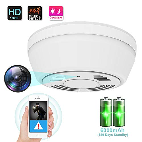 1080P Hidden Camera Smoke Detector, WiFi Camera with 180 Days Battery Power, Motion Activated Security Camera with Night Vision, Nanny Camera for Home...