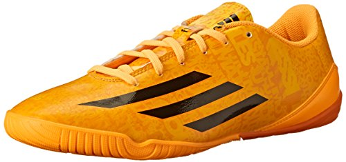 adidas Performance Men's F10 Indoor Messi Soccer Shoe, Solar Gold/Black/Black, 11 D US