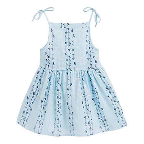 YWLINK MäDchen Volltonfarbe Klassisch Sling Sommer ÄRmellos Kleiden Blume Gestreift Prinzessin Partykleid Sommerkleid Kleidung(Himmelblau,130)