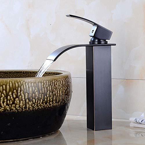 Grifo Grifo De Lavabo Antiguo Negro Grifo De Cascada Fría Y Caliente Para Baño Grifo De Cobre Para Baño