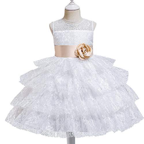 ZCRFYY Vestido de Princesa de Encaje para niños Vestido de niña de Pastel hinchado Vestido de niña Vestido de niña de Flores Vestido de Novia,Blanco,130cm